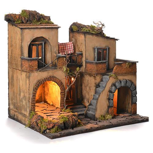 Borgo presepe napoletano stile 700 doppio arco cm 43x40x50 2