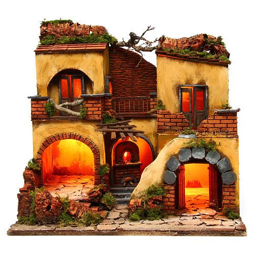 Borgo presepe napoletano stile 700 doppio arco cm 43x40x50 1