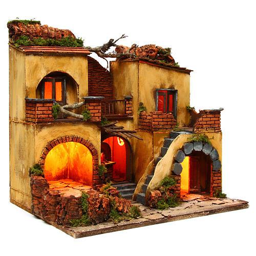 Borgo presepe napoletano stile 700 doppio arco cm 43x40x50 3