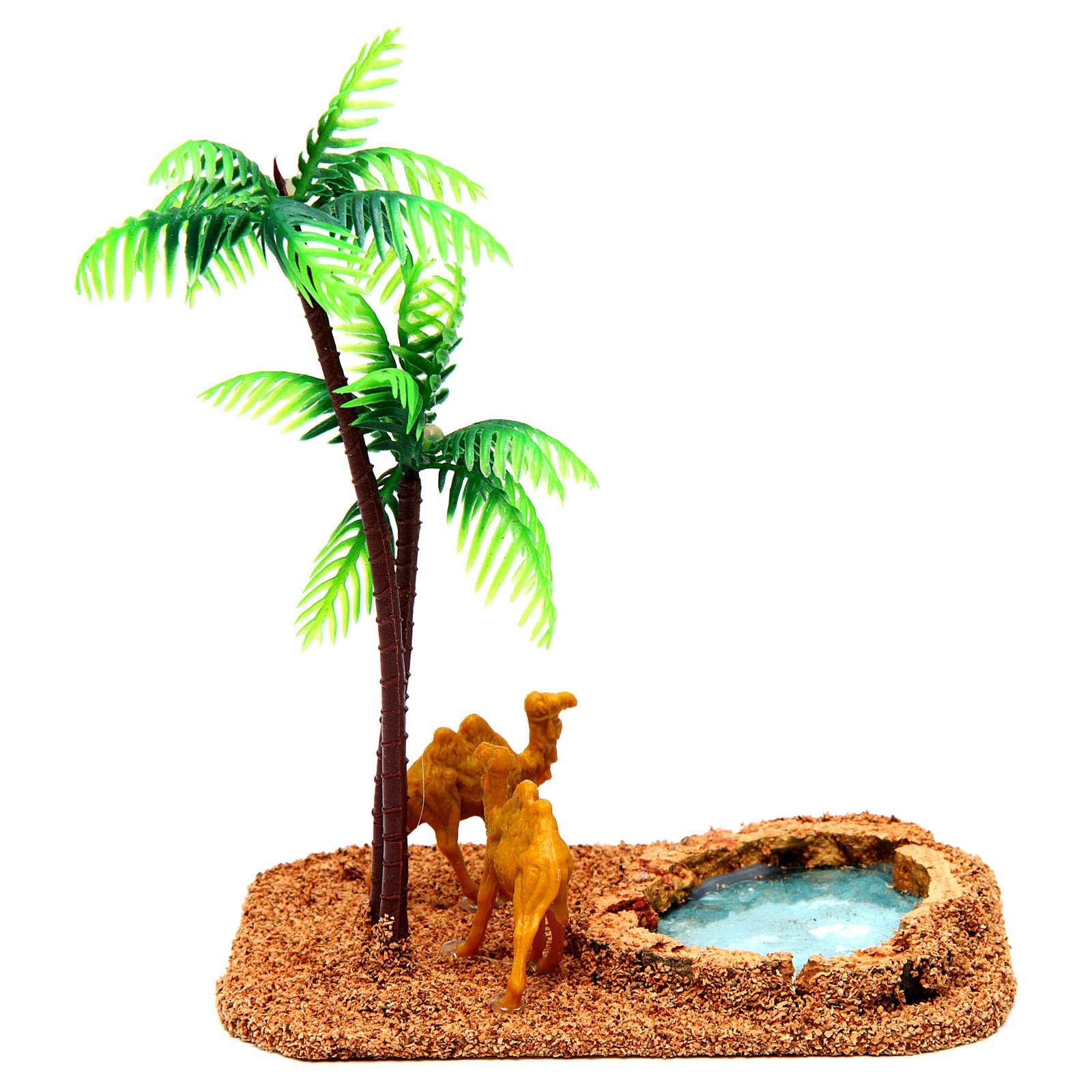 Camelos e palmeiras cenário presépio 4