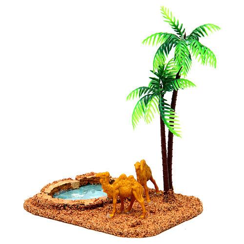Camelos e palmeiras cenário presépio 2