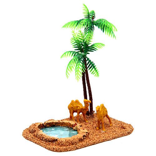 Camelos e palmeiras cenário presépio 3