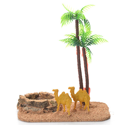 Camels with palm and pond, nativity setting 1