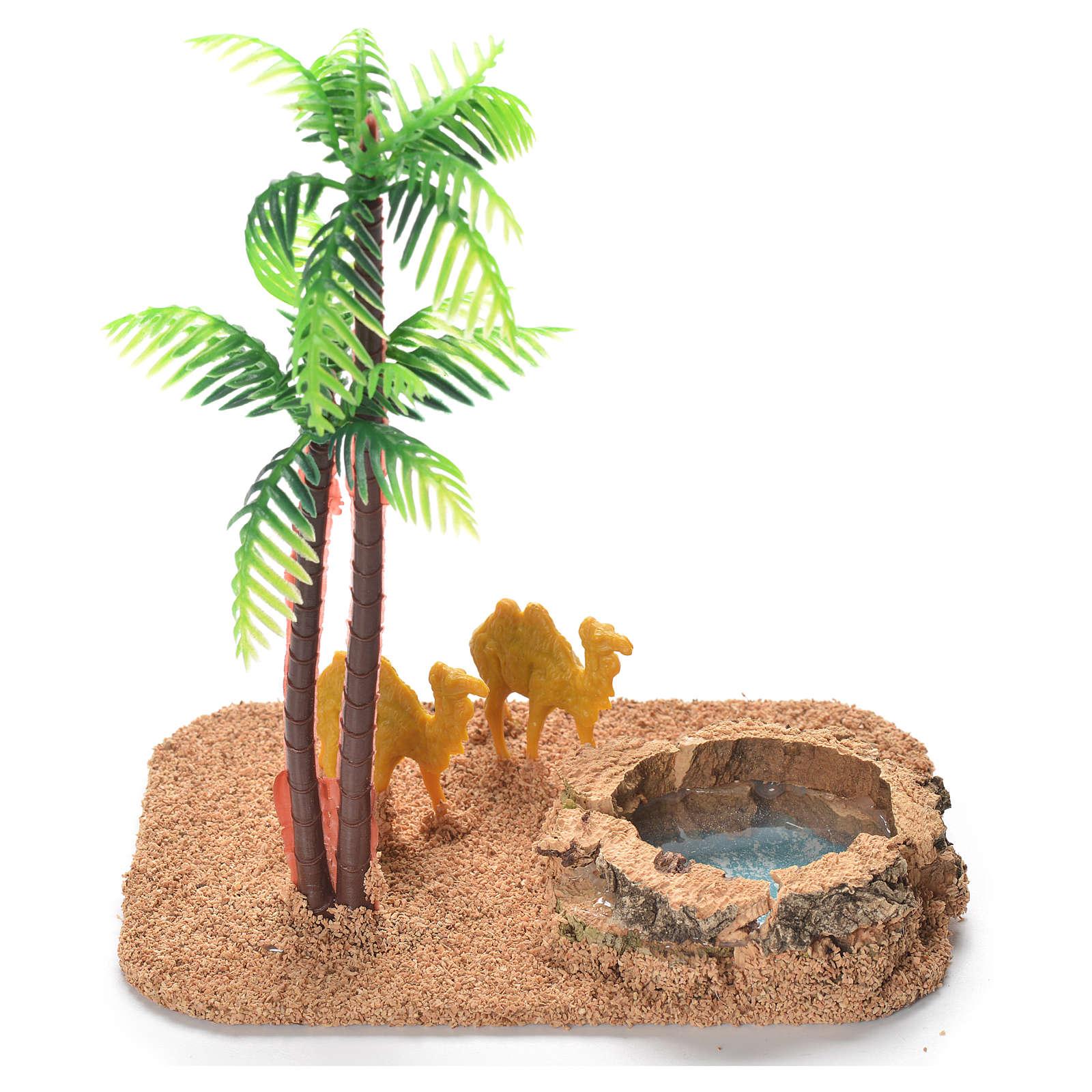 Chameaux palmiers lac décor crèche 4