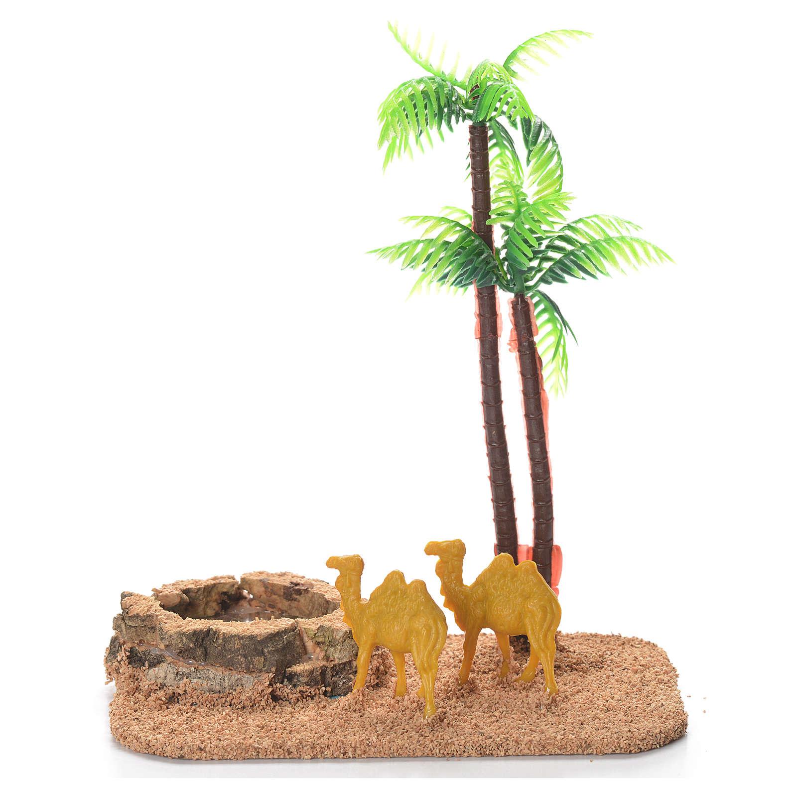 Cammelli palme laghetto ambientazione presepe 4