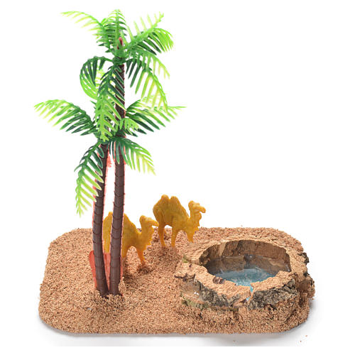 Camels with palm and pond, nativity setting 2