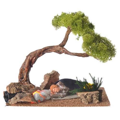 Man sleeping with fire and oak, 10cm 1