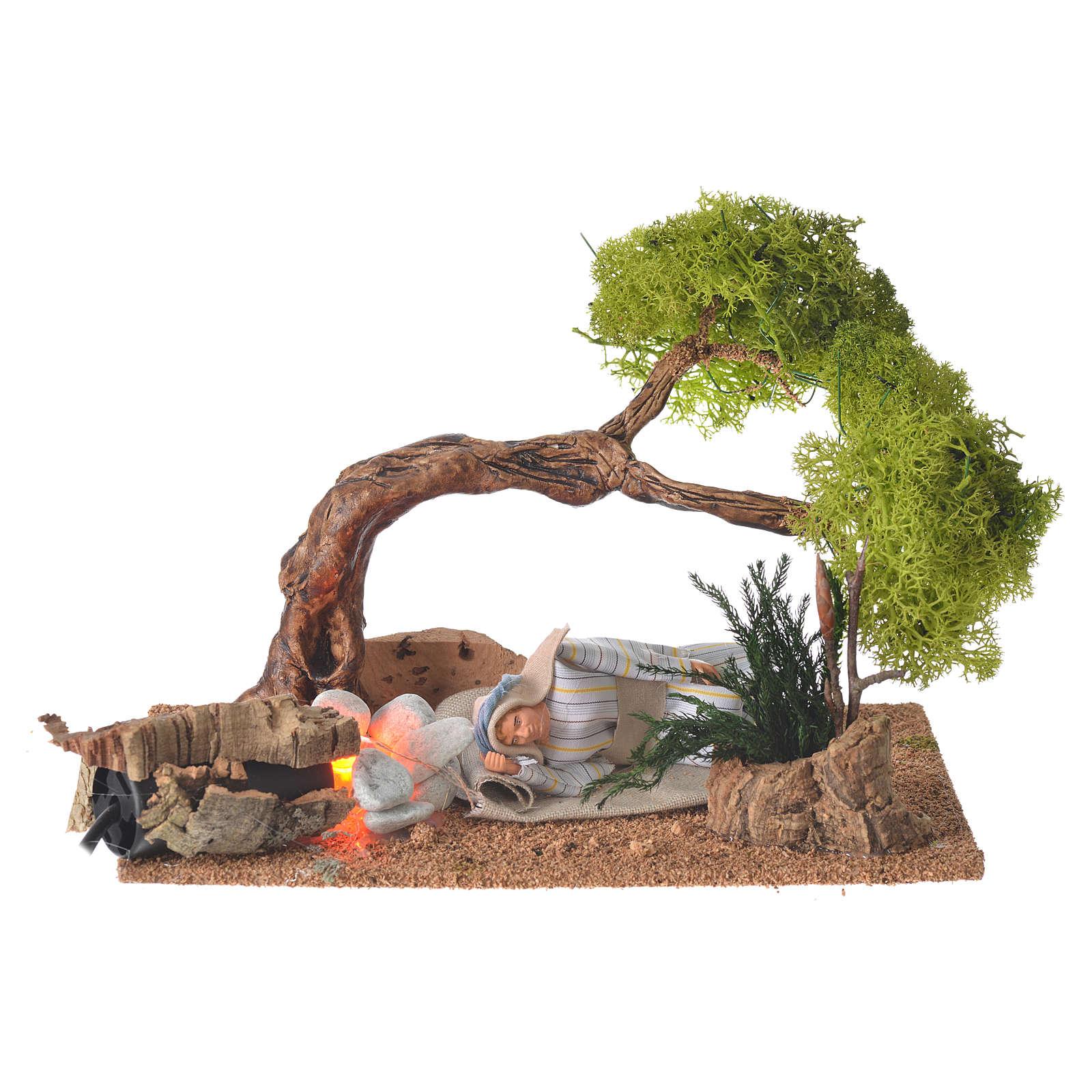Hombre árabe que duerme 10 cm con fuego y roble 4