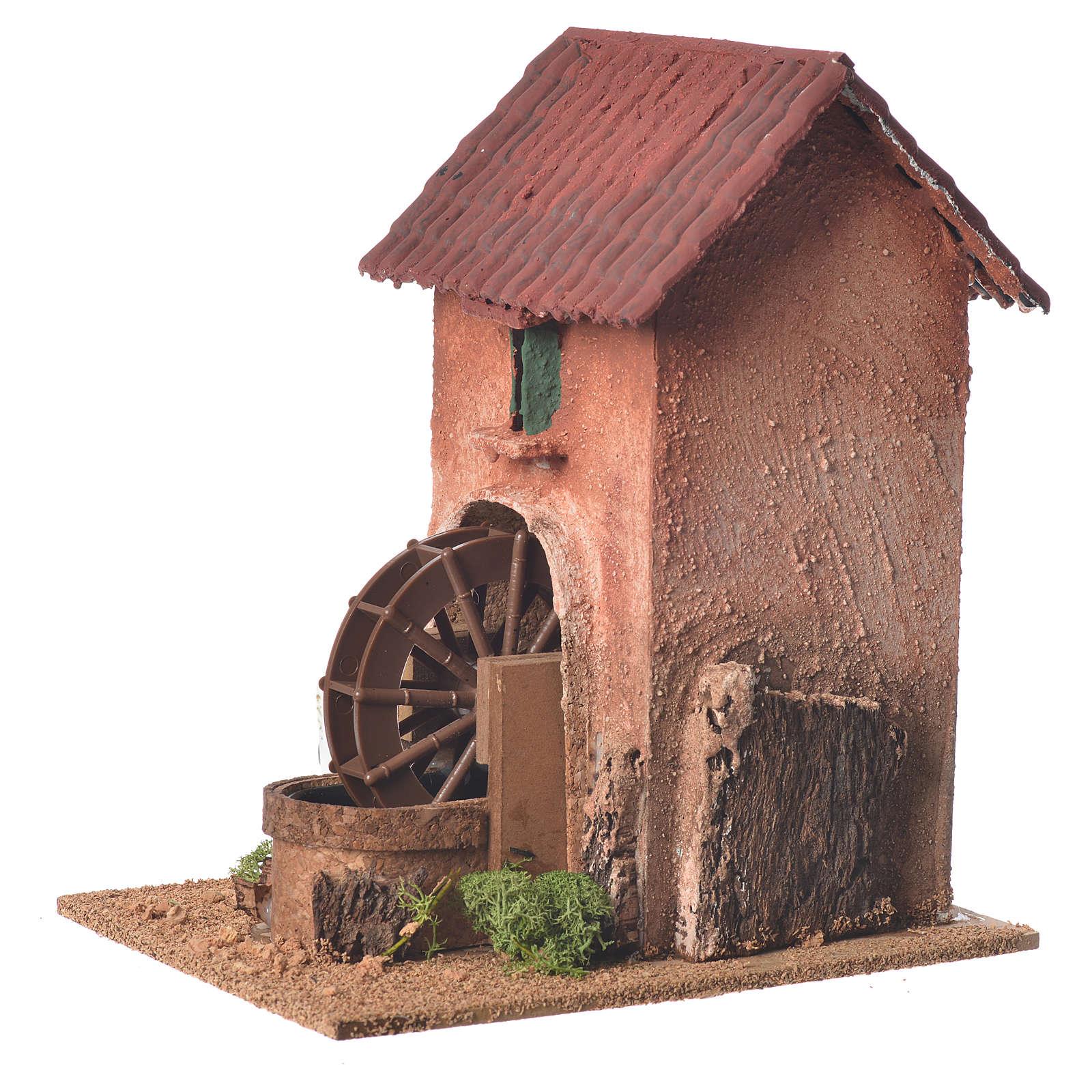 Maison avec moulin à eau crèche 23x15x20 cm 4