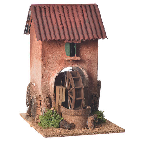 Maison avec moulin à eau crèche 23x15x20 cm 1