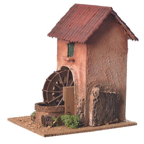 Maison avec moulin à eau crèche 23x15x20 cm 2