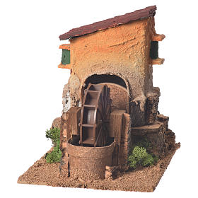 Old water mill for nativity scene 20x15x20 cm s1