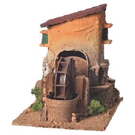 Ancien moulin à eau crèche 20x15x20 cm s1