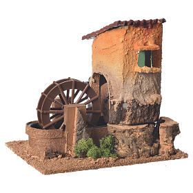 Old water mill for nativity scene 20x15x20 cm s2