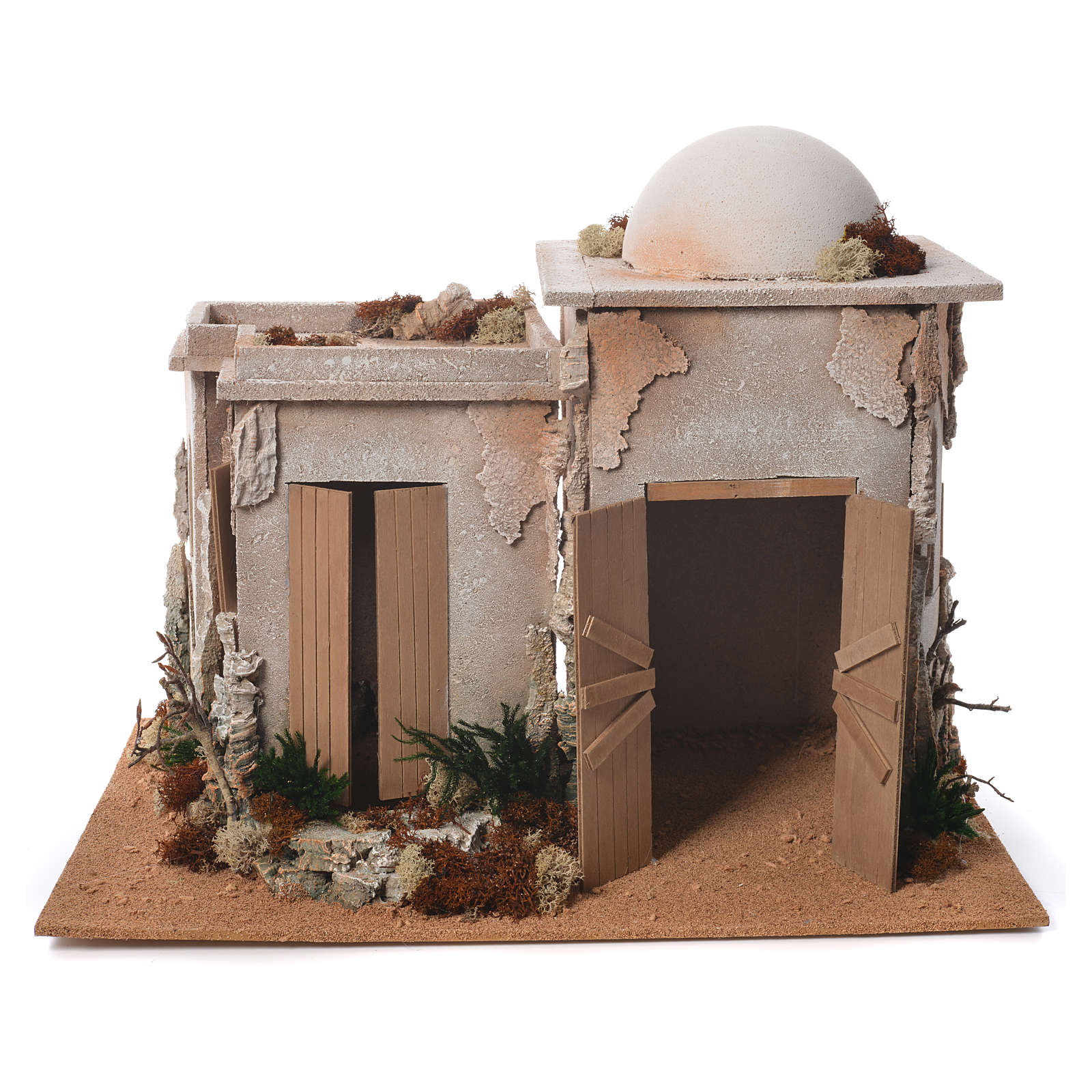 Nativity setting, double minaret with stable 46x60x40cm 4