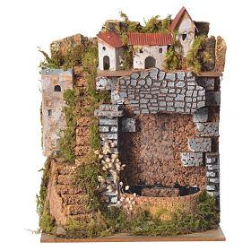 Borgo presepe con cascata 25x20x14 cm s1