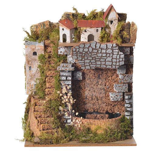 Borgo presepe con cascata 25x20x14 cm 1
