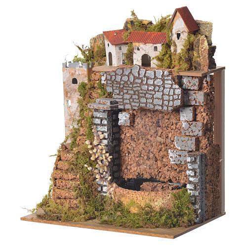 Borgo presepe con cascata 25x20x14 cm 2