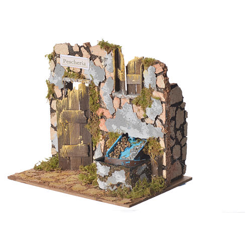 Fish shop for nativities with fountain measuring 18x20x14cm 2