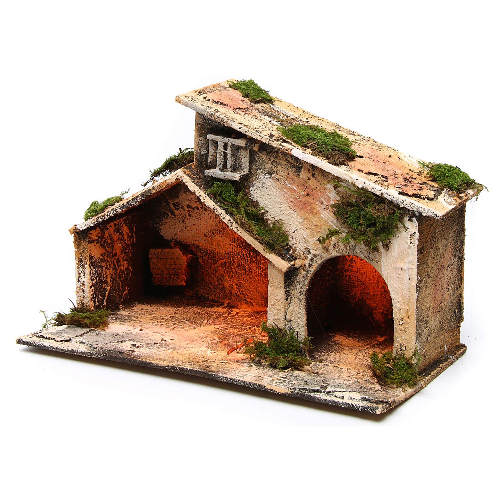Establo madera paja belén Nápoles 16x24x14 cm 4