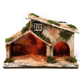 Establo madera paja belén Nápoles 16x24x14 cm s1