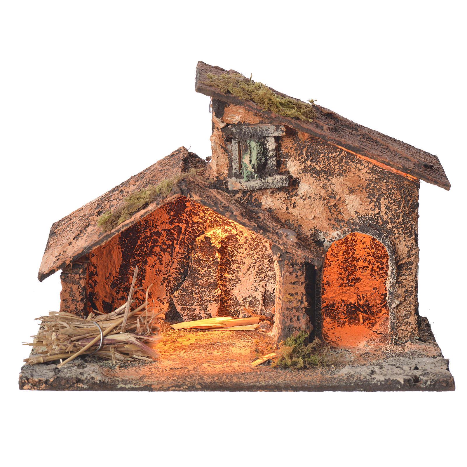 Stalla legno paglia presepe Napoli 16X24X14 cm 4