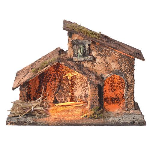 Stalla legno paglia presepe Napoli 16X24X14 cm 1