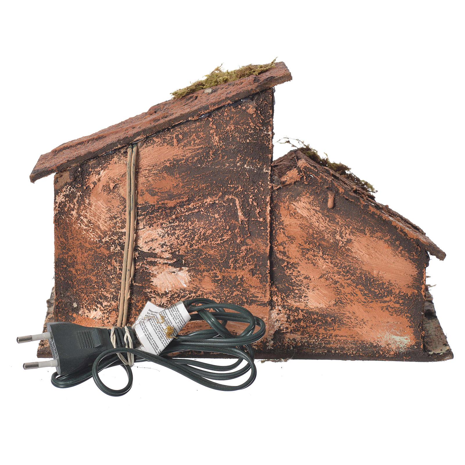 Wooden stable, Neapolitan Nativity 16X24X14cm 4