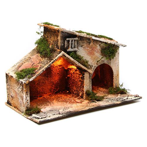 Wooden stable, Neapolitan Nativity 16X24X14cm 3