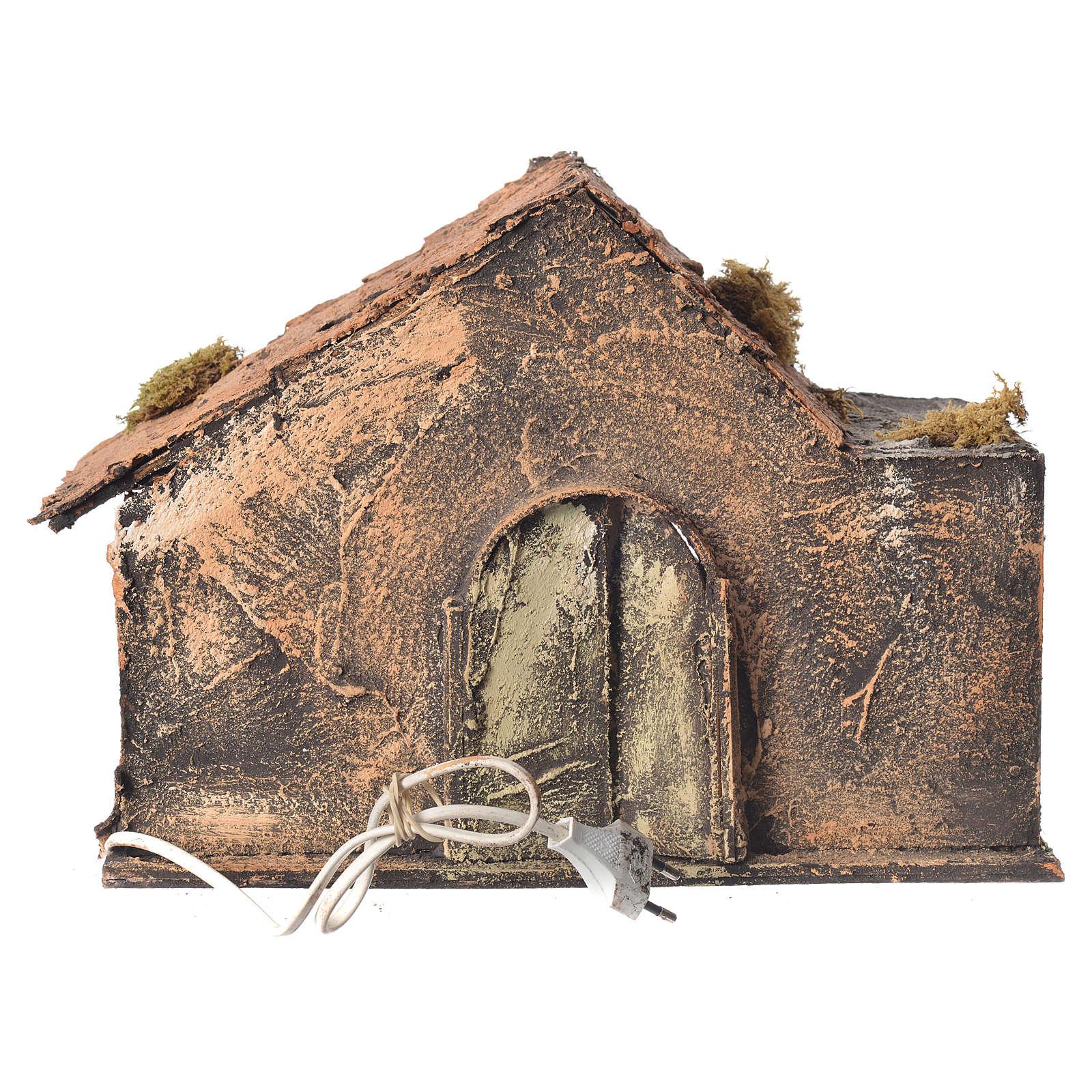 Stalla in legno con paglia presepe napoletano 26x35x27 cm 4