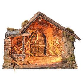 Stalla in legno con paglia presepe napoletano 26x35x27 cm s1