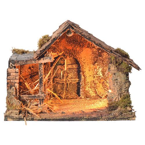 Stalla in legno con paglia presepe napoletano 26x35x27 cm 1