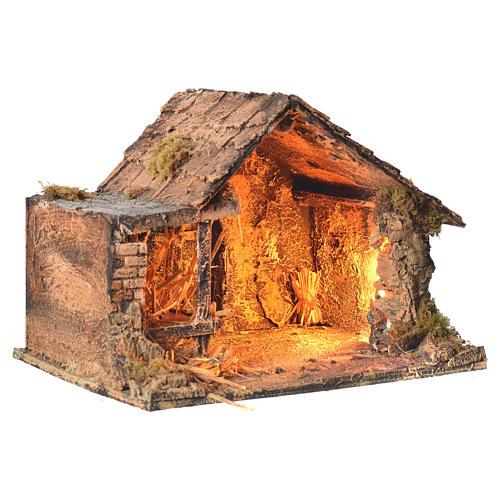 Stalla in legno con paglia presepe napoletano 26x35x27 cm 2