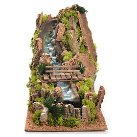 Nativity setting, waterfall with river 35x25x54cm s1