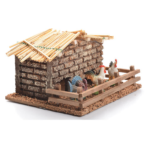 Hen house for nativities measuring 6cm 2