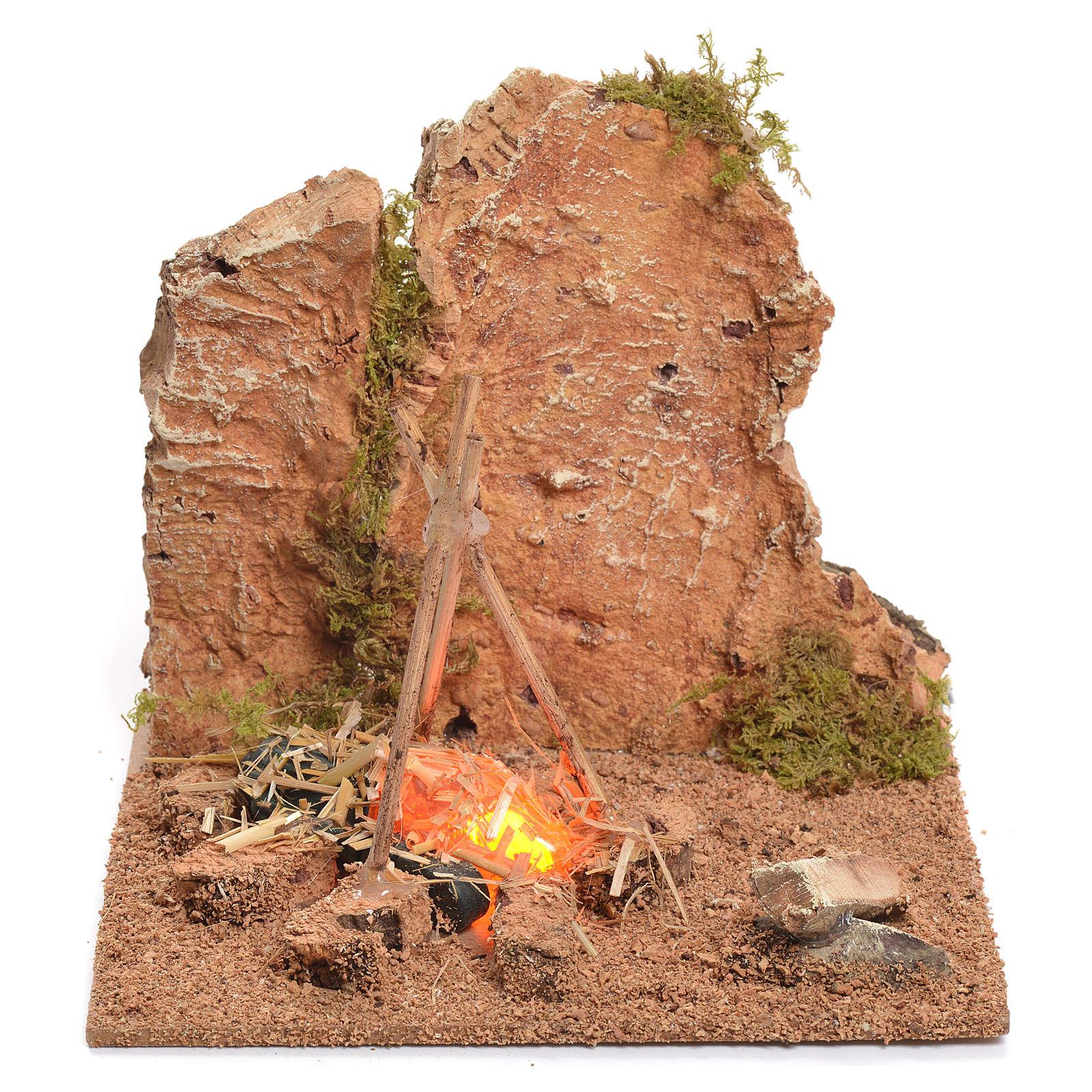 Campamento con fuego corriente para belén 12x15x15 cm 4