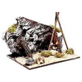 Campamento con fuego corriente para belén 12x15x15 cm s3