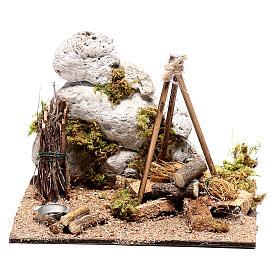 Campamento con fuego corriente para belén 12x15x15 cm s4