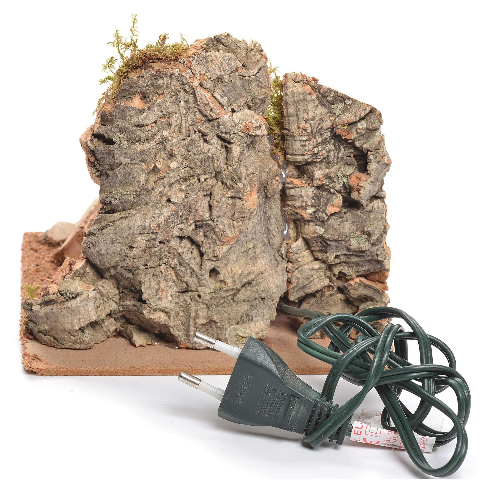 Bivouac rustique avec feu électrique pour crèche 12x15x15cm 4