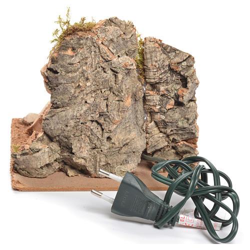 Bivouac rustique avec feu électrique pour crèche 12x15x15cm 3