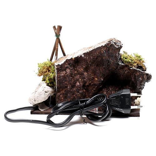 Bivouac rustique avec feu électrique pour crèche 12x15x15cm 5