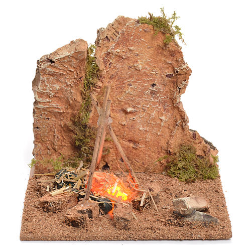 Illuminated nativity setting, rustic camping site with fire 12x15x15cm 1