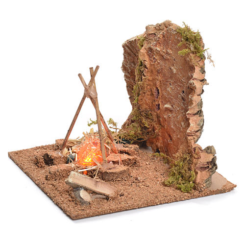 Illuminated nativity setting, rustic camping site with fire 12x15x15cm 2