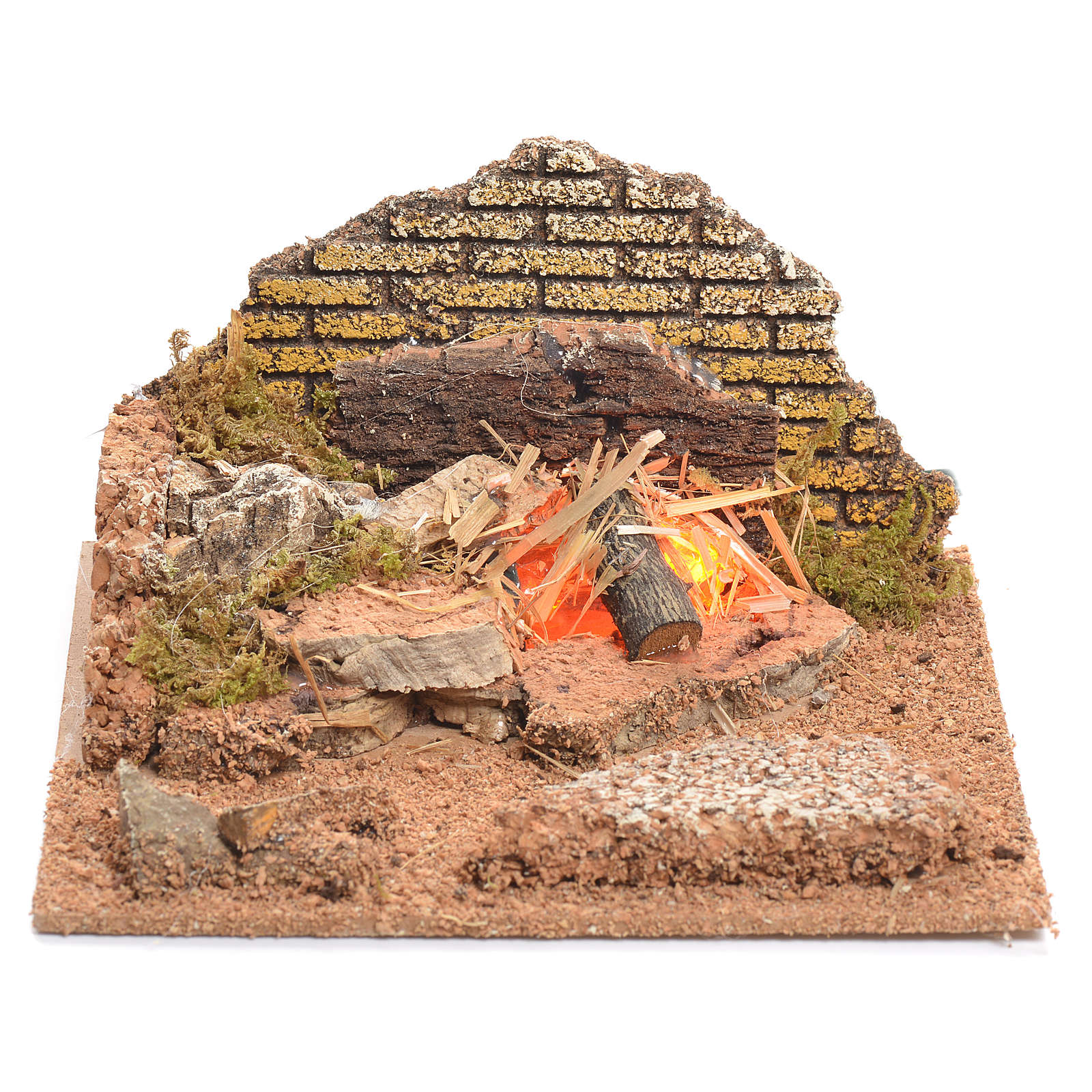 Illuminated nativity scene with fire 8x15x15cm 4