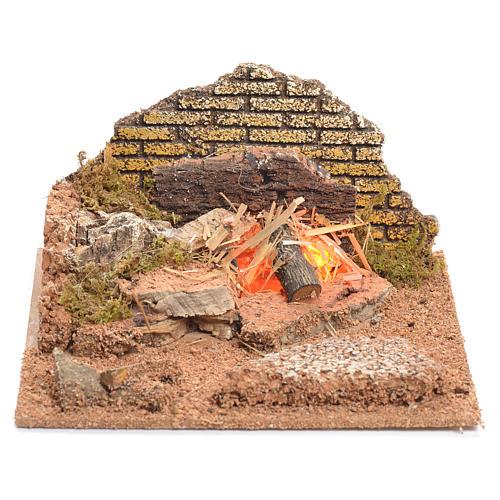 Illuminated nativity scene with fire 8x15x15cm 1