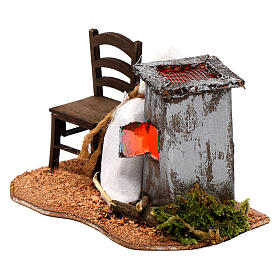Illuminated nativity scene with roasted chestnuts and chair 6x12x7cm s2