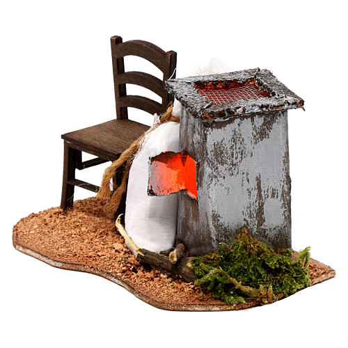 Illuminated nativity scene with roasted chestnuts and chair 6x12x7cm 2