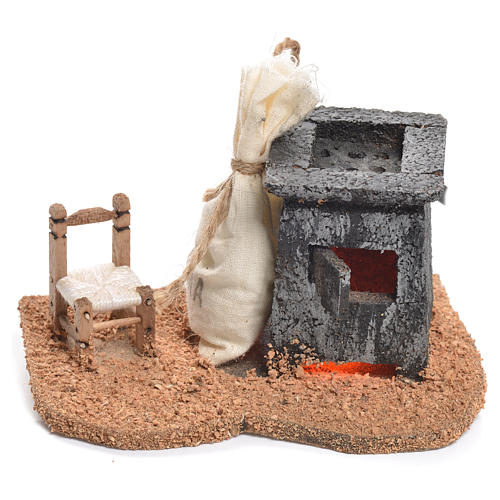 Illuminated nativity scene with roasted chestnuts and chair 6x12x7cm 1