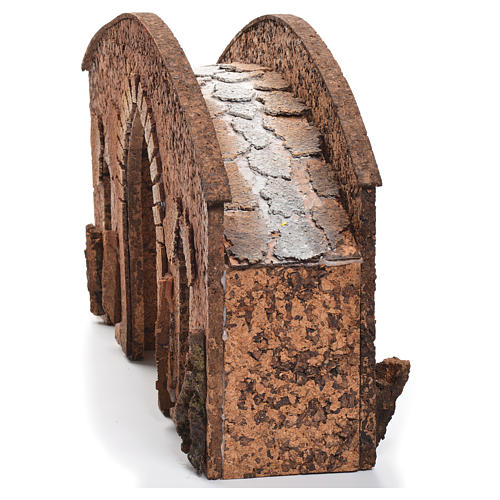 Bridge in cork for nativities measuring 25x40x12cm 2