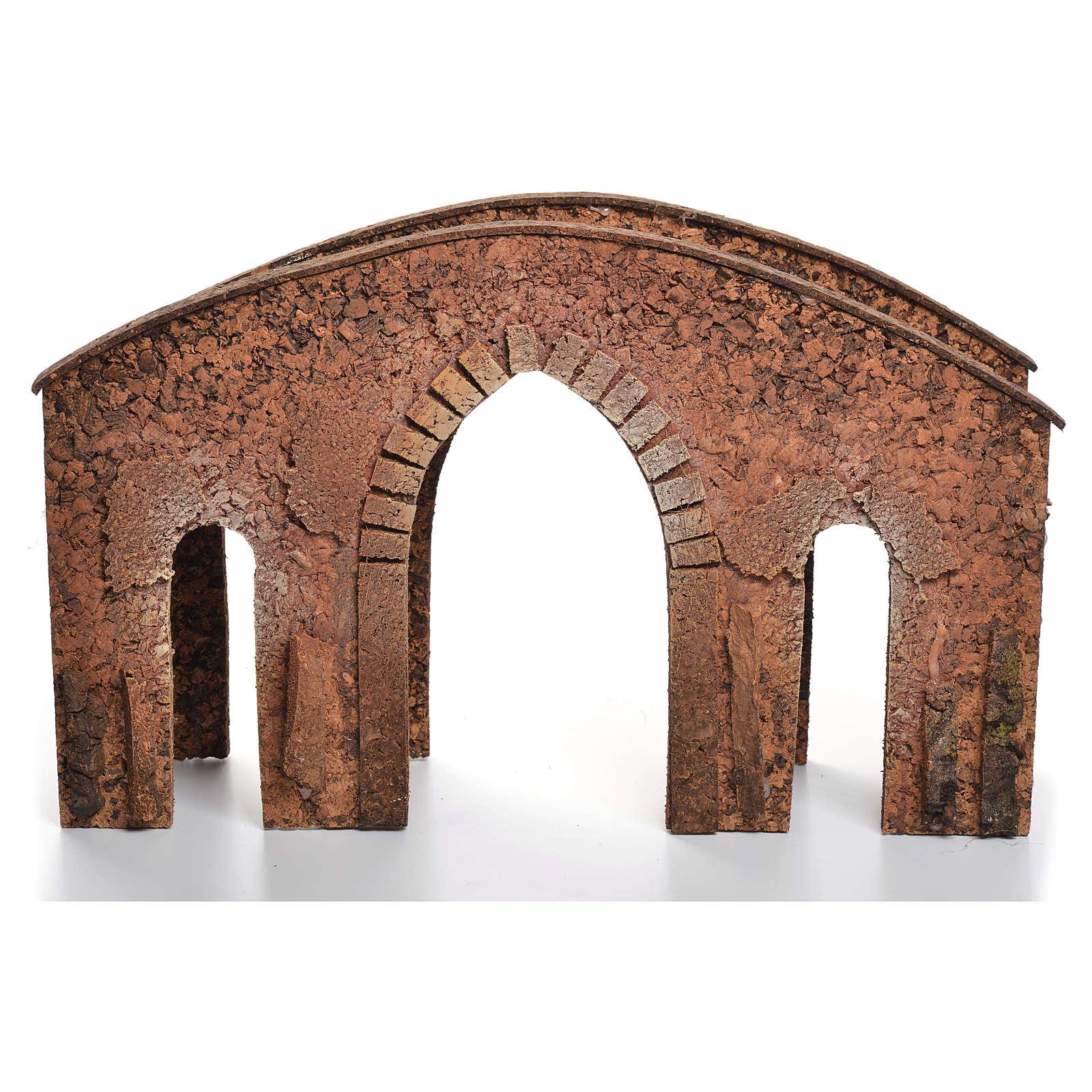 Bridge in cork for nativities measuring 25x40x12cm 4